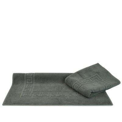 Greek Key Bath Rugs Color: Gray