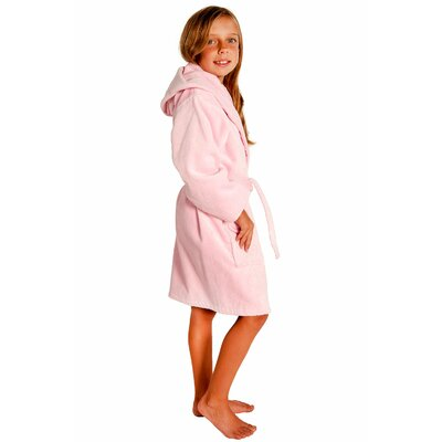 Kids Hooded Terry Velour Robe Size: Kids (Age 3-6) - Small Medium, Color: Pink