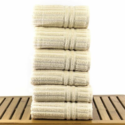 6-Piece Turkish Cotton Hand Towel Set Bare Cotton