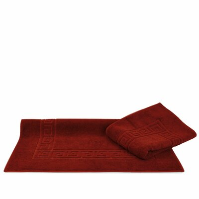 Greek Key Bath Rugs Color: Cranberry