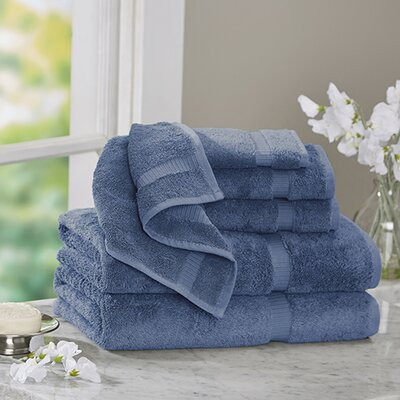 6 Piece Turkish Cotton Towel Set Color: Wedgewood