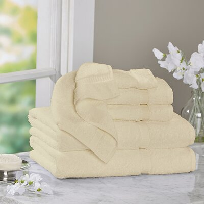 6 Piece Turkish Cotton Towel Set Color: Beige