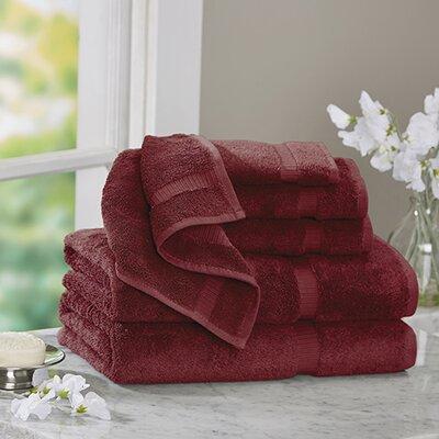 Luxury 6 Piece Turkish Cotton Towel Set Color: Cranberry