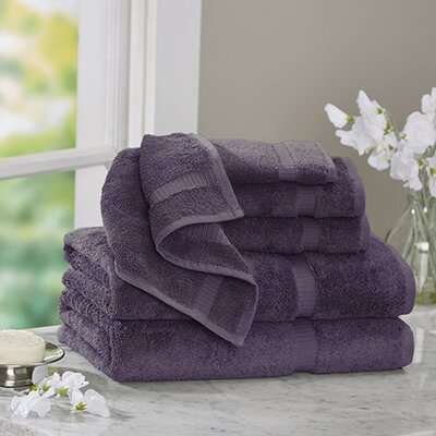6 Piece Turkish Cotton Towel Set Color: Plum