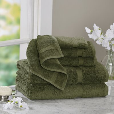 6 Piece Turkish Cotton Towel Set Color: Moss