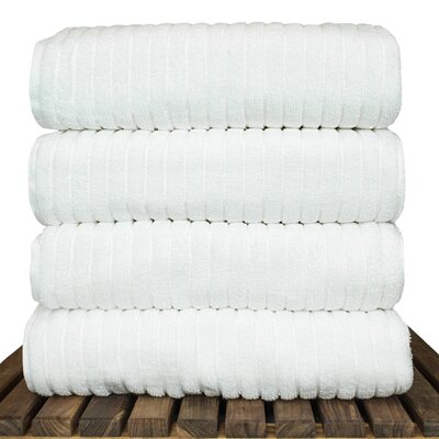 Ribbed Bath Towel Color: White