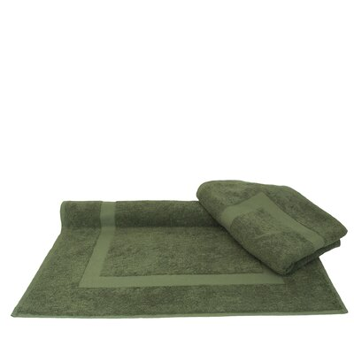 Dobby Border Bath Mat Color: Moss