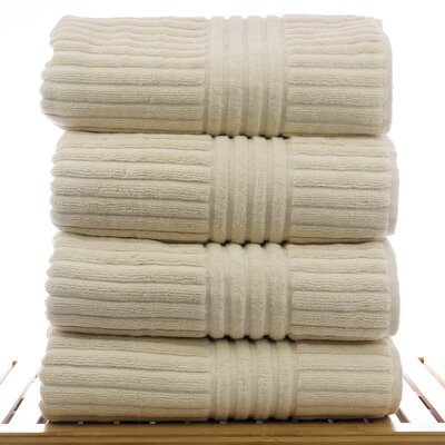 Striped Bath Towel Color: Beige