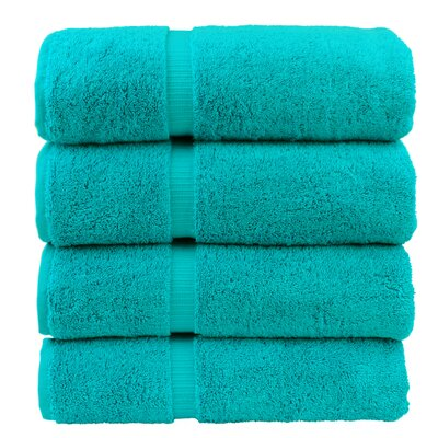 Dobby Border Bath Towel Color: Aqua Blue