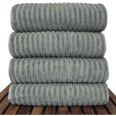 Ribbed Bath Towel Color: Gray