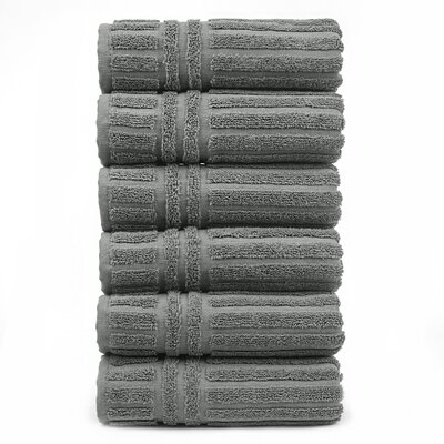 Striped Hand Towel Color: Gray