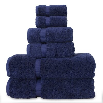 6 Piece Turkish Cotton Towel Set Color: Navy