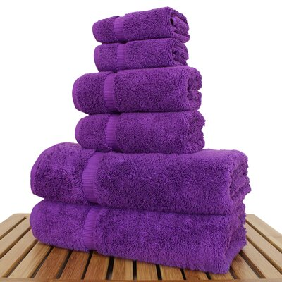 Luxury 6 Piece Turkish Cotton Towel Set Color: Eggplant