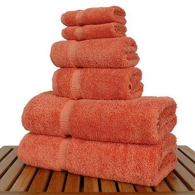 Luxury 6 Piece Turkish Cotton Towel Set Color: Coral