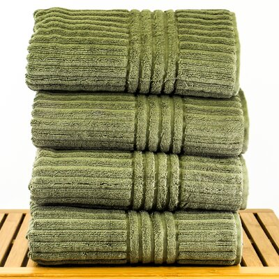 Striped Bath Towel Color: Moss