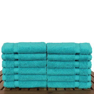 Luxury Hotel and Spa Towel 100% Genuine Turkish Cotton Wash Cloth Color: Aqua Blue