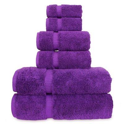 6 Piece Turkish Cotton Towel Set Color: Eggplant