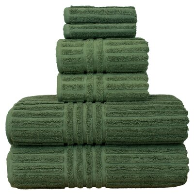 Luxury Hotel and Spa 100% Genuine Turkish Cotton 6 Piece Towel Set Color: Moss