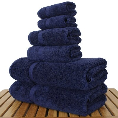Luxury 6 Piece Turkish Cotton Towel Set Color: Navy
