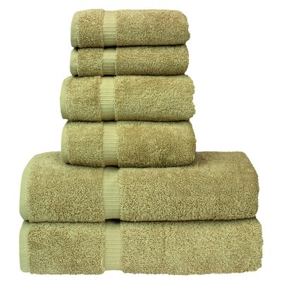 6 Piece Turkish Cotton Towel Set Color: Driftwood