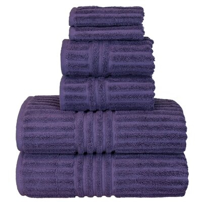 Luxury Hotel and Spa 100% Genuine Turkish Cotton 6 Piece Towel Set Color: Plum