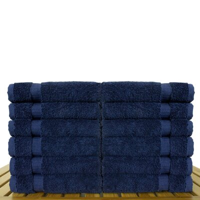 Luxury Hotel and Spa Towel 100% Genuine Turkish Cotton Wash Cloth Color: Navy