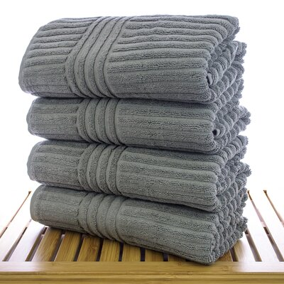 Striped Bath Towel Color: Gray