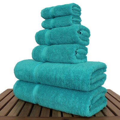 Luxury 6 Piece Turkish Cotton Towel Set Color: Aqua Blue