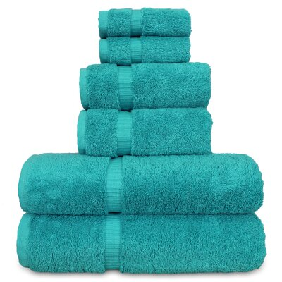 6 Piece Turkish Cotton Towel Set Color: Aqua Blue