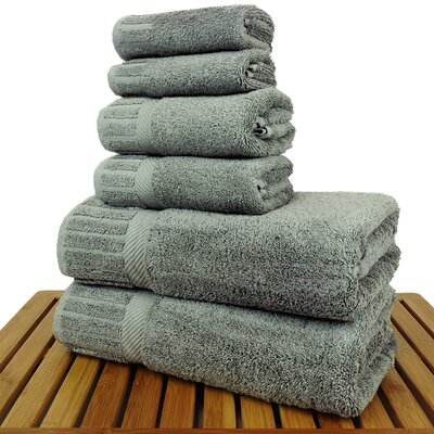 Luxury Hotel and Spa 100% Turkish Cotton 6 Piece Towel Set Color: Gray