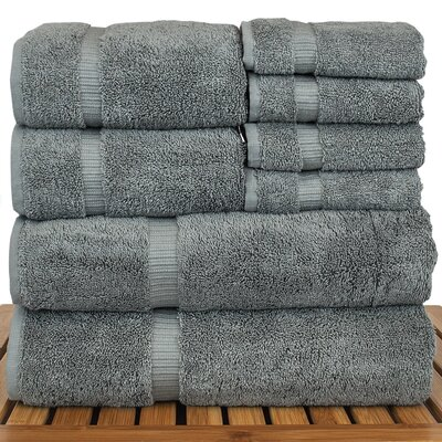 Luxury Hotel and Spa 8 Piece Towel Set Color: Gray