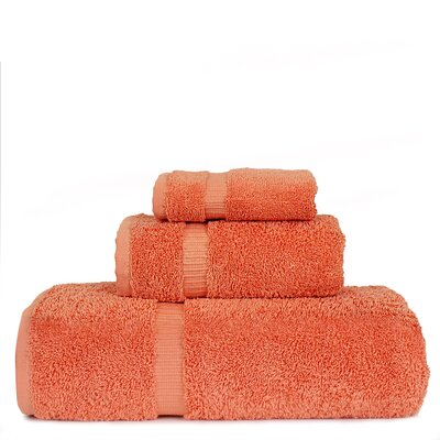 Luxury Hotel and Spa 3 Piece Towel Set Color: Coral
