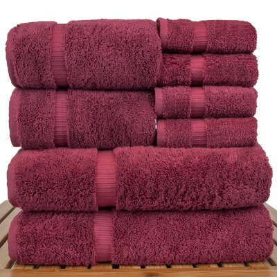Luxury Hotel and Spa 8 Piece Towel Set Color: Cranberry