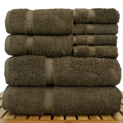 Luxury Hotel and Spa 8 Piece Towel Set Color: Cocoa