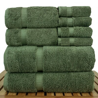 Orchid 8 Piece Towel Set Color: Moss