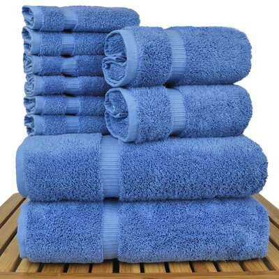 Luxury Hotel and Spa 10 Piece Towel Set Color: Wedgewood