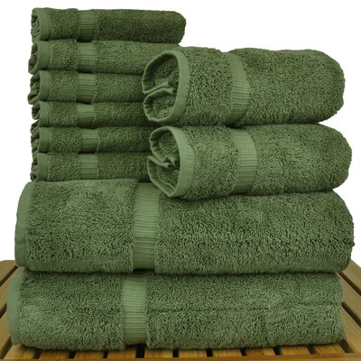 Luxury Hotel and Spa 10 Piece Towel Set Color: Moss