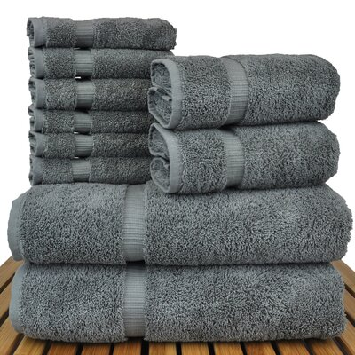 Orchid 10 Piece Towel Set Color: Gray