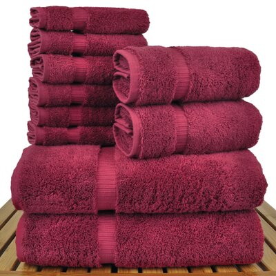 Orchid 10 Piece Towel Set Color: Cranberry