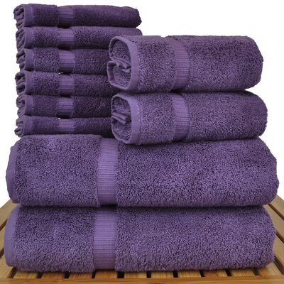 Luxury Hotel and Spa 10 Piece Towel Set Color: Plum