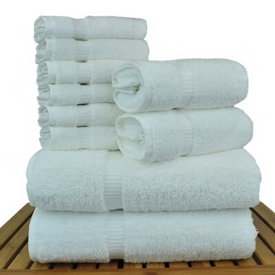 Luxury Hotel and Spa 10 Piece Towel Set Color: White