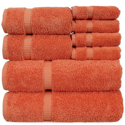 Luxury Hotel and Spa 8 Piece Towel Set Color: Coral