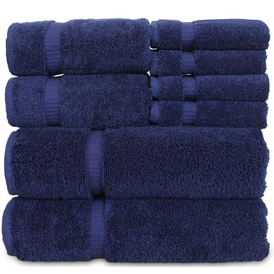 Luxury Hotel and Spa 8 Piece Towel Set Color: Navy