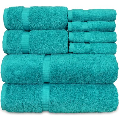 Luxury Hotel and Spa 8 Piece Towel Set Color: Aqua Blue
