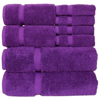Orchid 8 Piece Towel Set Color: Eggplant