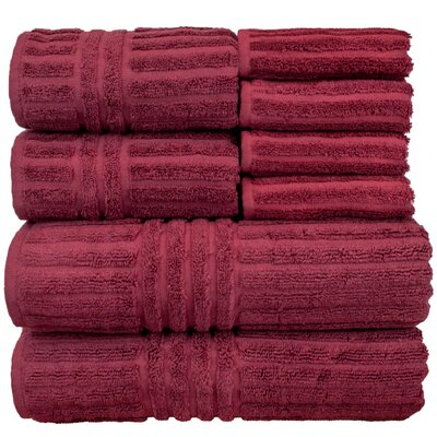 Cypress 8 Piece Towel Set Color: Cranberry