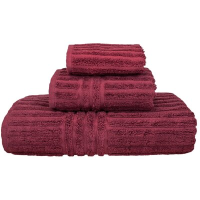 Cypress 3 Piece Towel Set Color: Cranberry
