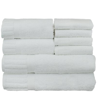 Fiorella 8 Piece 100% Cotton Towel Set Color: White