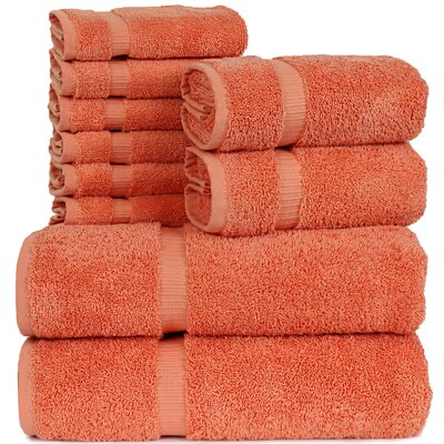Orchid 10 Piece Towel Set Color: Coral
