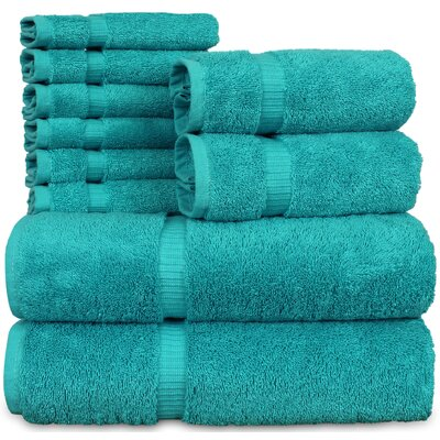 Orchid 10 Piece Towel Set Color: Aqua Blue